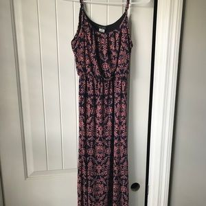 Dresses & Skirts - Navy blue and pink floral maxi dress.